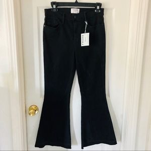 NWT Frame denim black Le Crop Flare Jeans